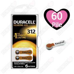 60 Batterie Duracell 312 EasyTab Pr41 per Apparecchi Acustici