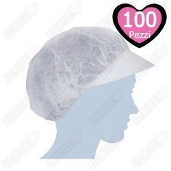 Cuffie Retina Monouso in Tnt Bianca con Visiera - 1 Confezioni da 100 pezzi