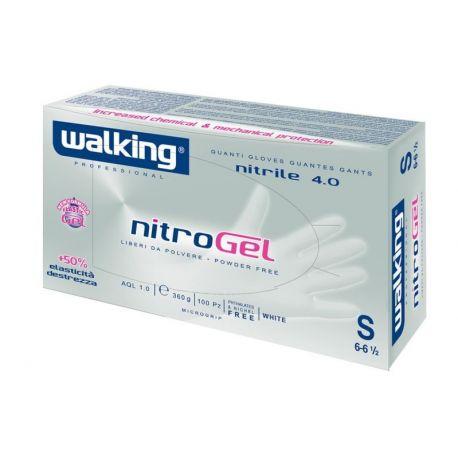 Guanti in Nitrile Monouso Walking Nitrogel Bianco e Blu