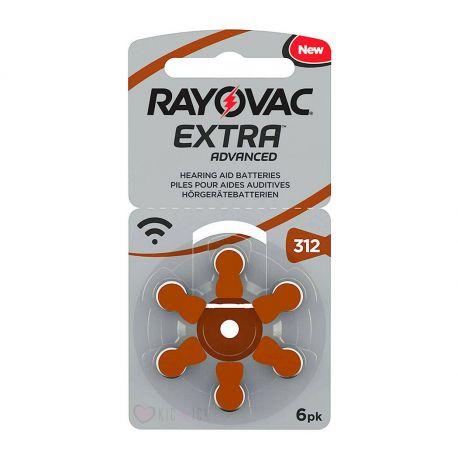 Rayovac Misura 312 / PR41 / 312A - Blister da 6 Batterie per Protesi Acustiche