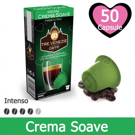 50 Capsule Caffè Tre Venezie Aroma Crema Soave Compatibili Nespresso