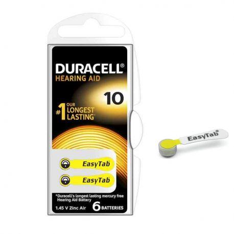 60 Batterie Duracell 10 EasyTab Pr70 per Apparecchi Acustici