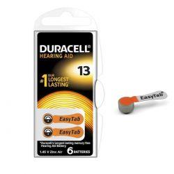 30 Batterie Duracell 13 EasyTab - 5 Blister da 6 Pile per Apparecchi Acustici