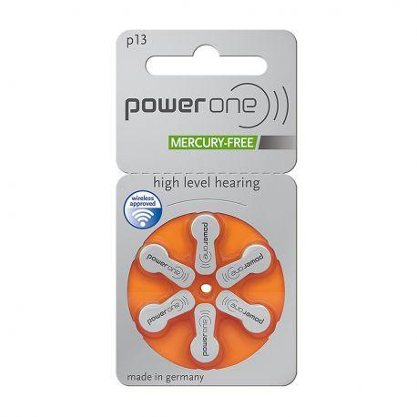 60 Batterie Power One Misura 13 / PR48 - 10 Blister da 6 Pile per Protesi Acustiche
