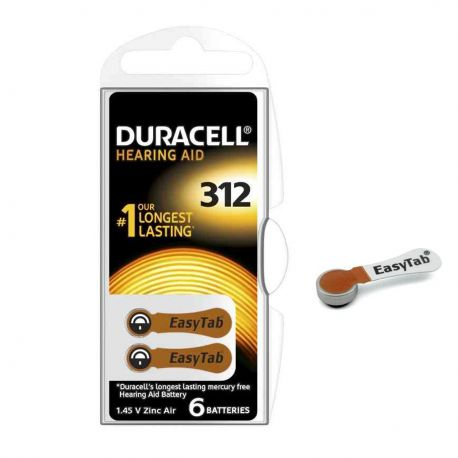 60 Batterie Duracell 312 EasyTab - 10 Blister da 6 Pile per Apparecchi Acustici