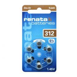 Renata ZA312 Free Mercury - Blister da 6 Batterie per Protesi Acustiche