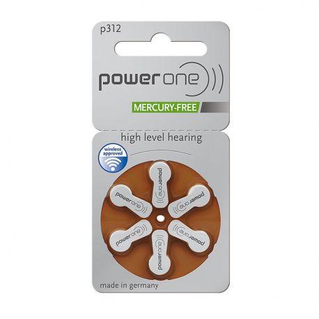 Power One Misura 312 / PR41 / P312 - Blister da 6 Batterie per Protesi Acustiche