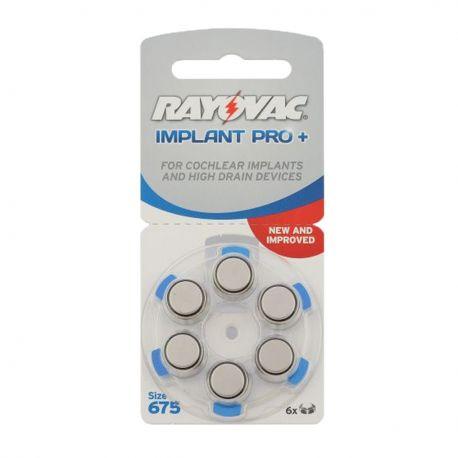 60 Batterie Rayovac 675 Implant Pro Cocleari per Protesi Acustiche