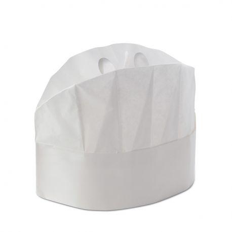 20 pz Cappello Chef Cuoco Chiuso Monouso Bianco H 20 cm