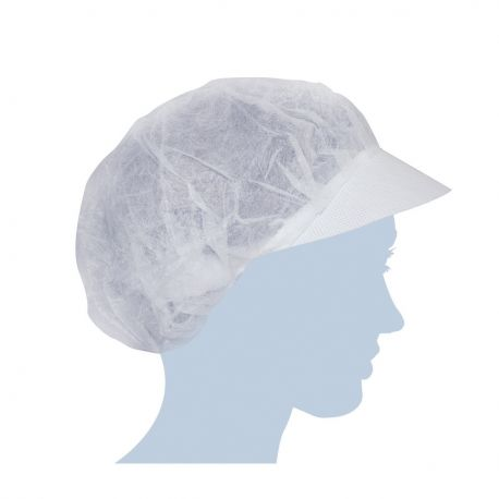 Cuffie Retina Monouso in Tnt Bianca con Visiera - Confezione da 100 pezzi
