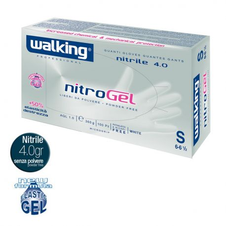 Guanti in Nitrile Monouso Walking Nitrogel Bianco