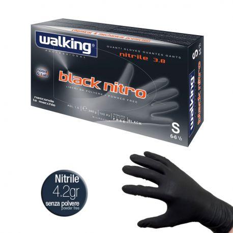 10 Confezioni Guanti Monouso Neri in Nitrile - Walking Black Nitro 4.2 Ideale per Tatuatori