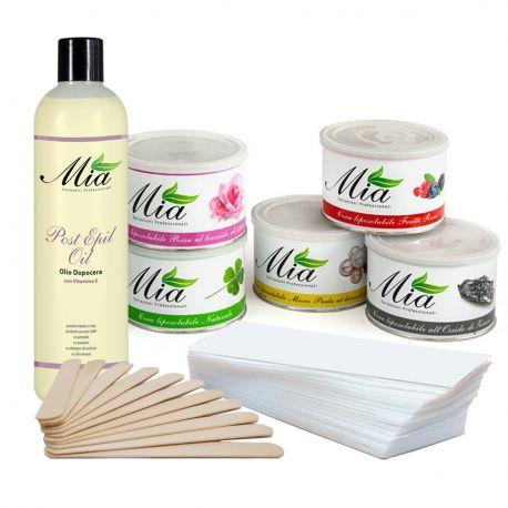 Kit Completo 6 Cere in Vaso, Strisce, Spatole Legno e Post Depilazione