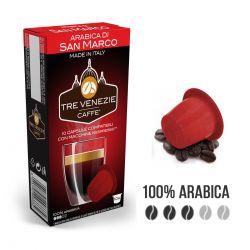 100 Capsule Caffè Tre Venezie Arabica di San Marco Cialde Compatibili Nespresso