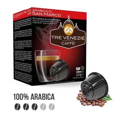 80 Capsule Caffè Tre Venezie Arabica di San Marco Cialde Compatibili Nescafè Dolce Gusto