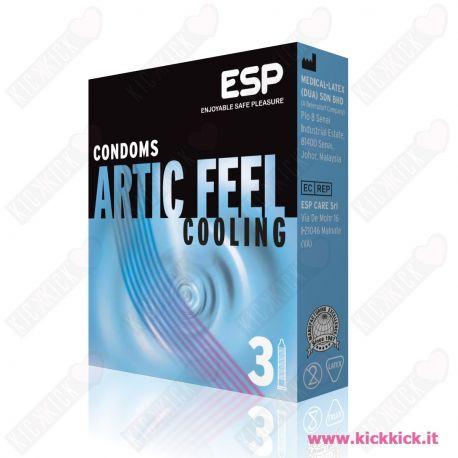 Profilattici ESP Artic Feel Cooling Scatola da 3 Preservativi Stimolanti con Rilievi e Nervature