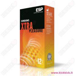 Profilattici ESP Xtra Pleasure Scatola da 12 Preservativi Stimolanti con Rilievi e Nervature