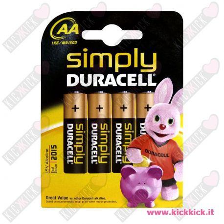 Duracell AA Stilo Simply Blister da 4 pile