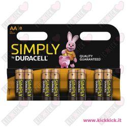 Duracell AA Stilo Simply  Blister da 8 pile