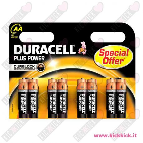 Duracell AA Stilo Plus Power Duralock - Blister da 8 pile