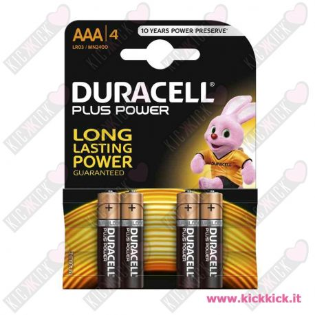 Duracell AAA MiniStilo Plus Power Duralock - Blister da 4 pile