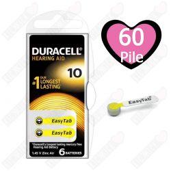 60 Batterie Duracell 10 EasyTab - 10 Blister da 6 Pile per Apparecchi Acustici