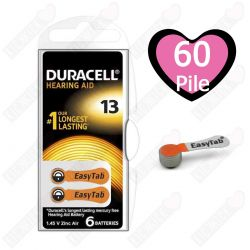 60 Batterie Duracell 13 EasyTab - 10 Blister da 6 Pile per Apparecchi Acustici