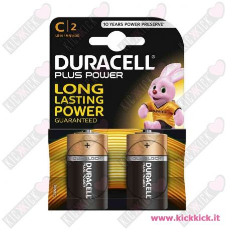 Duracell C MezzaTorcia Plus Power Duralock - Blister da 2 pile