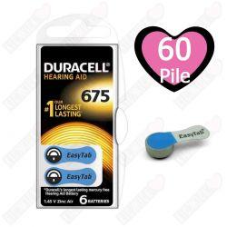 60 Batterie Duracell 675 EasyTab - 10 Blister da 6 Pile per Apparecchi Acustici