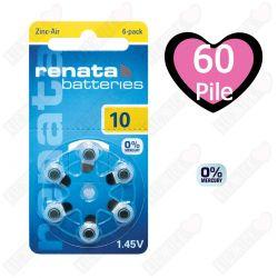60 Batterie Renata 10 - Pr70 per Apparecchi Acustici