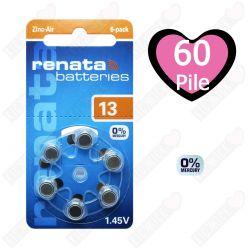 60 Batterie Renata ZA13 / PR48 / P13 Free Mercury - 10 Blister da 6 Pile per Protesi Acustiche