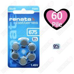 60 Batterie Renata 675 - Pr44 per Apparecchi Acustici