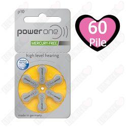 60 Batterie Power One Misura 10 / PR70 - 10 Blister da 6 Pile per Protesi Acustiche