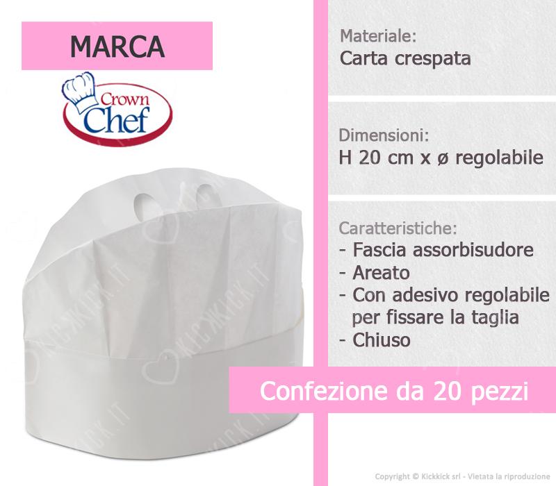 Cappello da Chef monouso in carta crespata doppia lavorazione. e29f158e867e